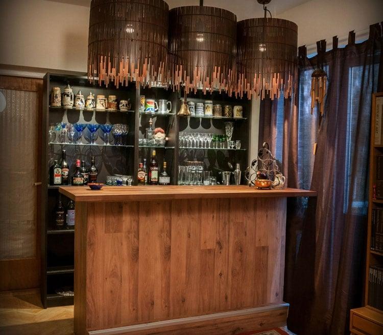 Homemade Small Basement Bar with Unique Shelf Ideas on a Budget