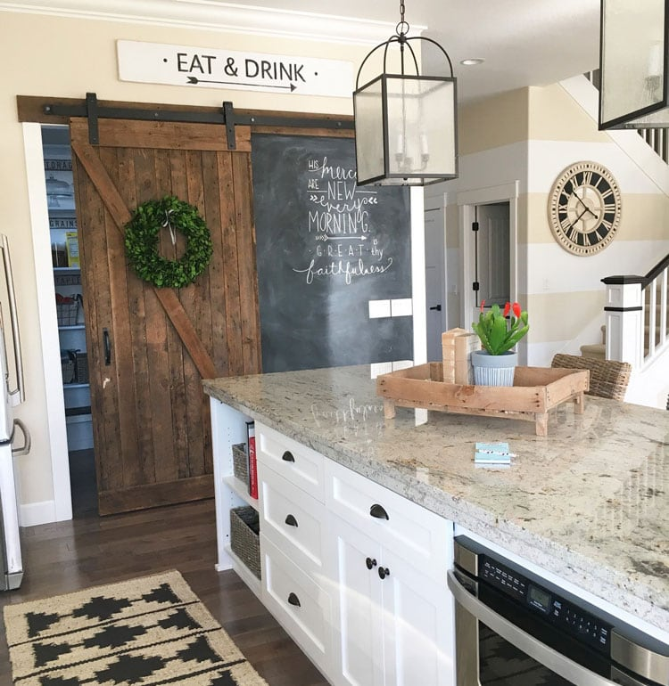 Kitchen Decor with Rustic Sliding Door For Pantry Room
