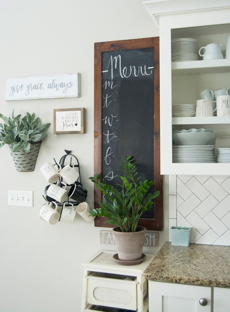 Kitchen Menu with Wood Frame and Hanging Plant