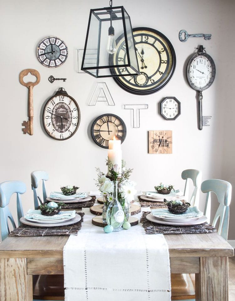 Large Kitchen Wall Decor with a Whimsical Clock Wall