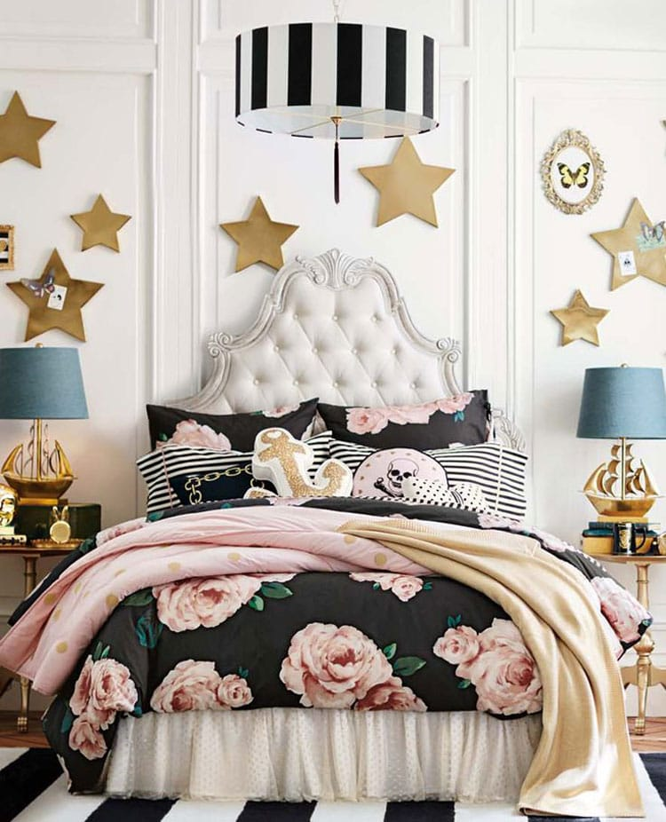 Lavish Teenage Bedroom with Antique Bed and Star Wall Art