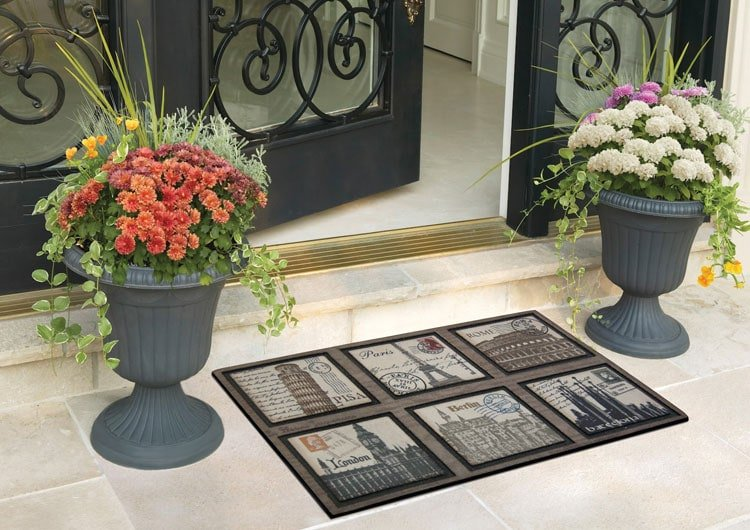 Luxury Flower Pot Ideas with Floor Mat on Front Porch