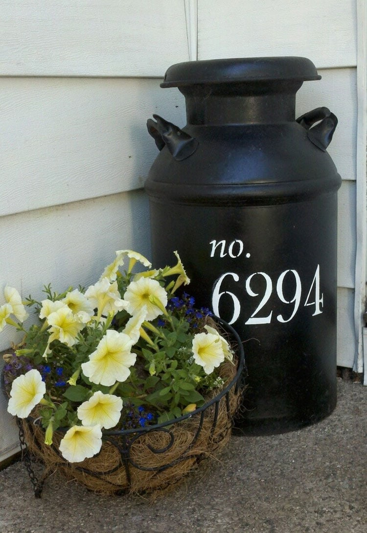 Milk Can Plant Container Ideas on Front Porch