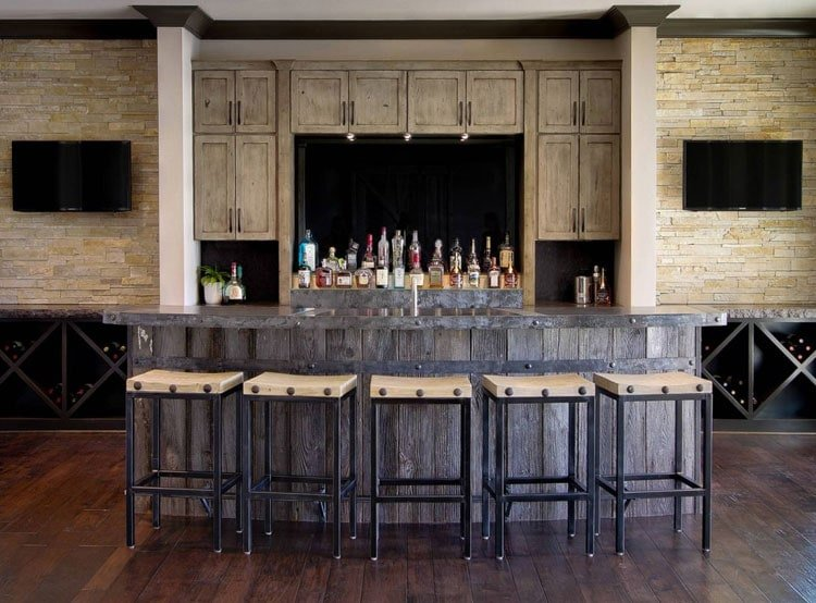 Modern Basement Man Cave Bar with Light Reclaimed Wood