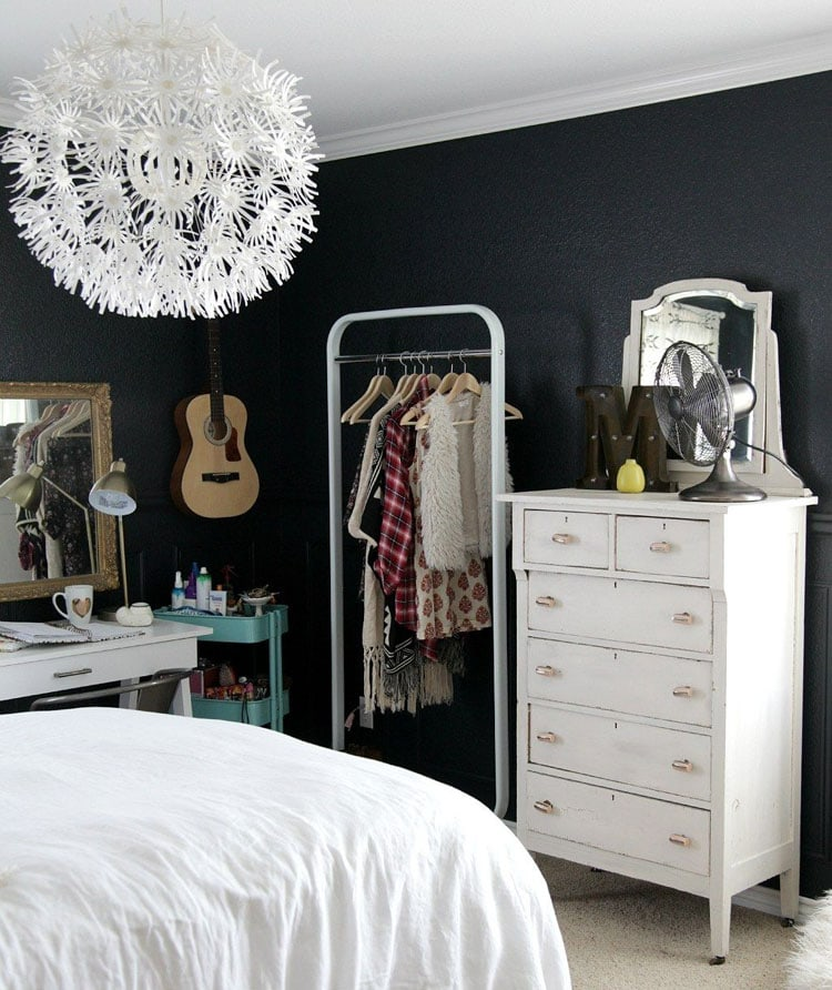 Modern Teen Room in Black and White with Cute Dresser