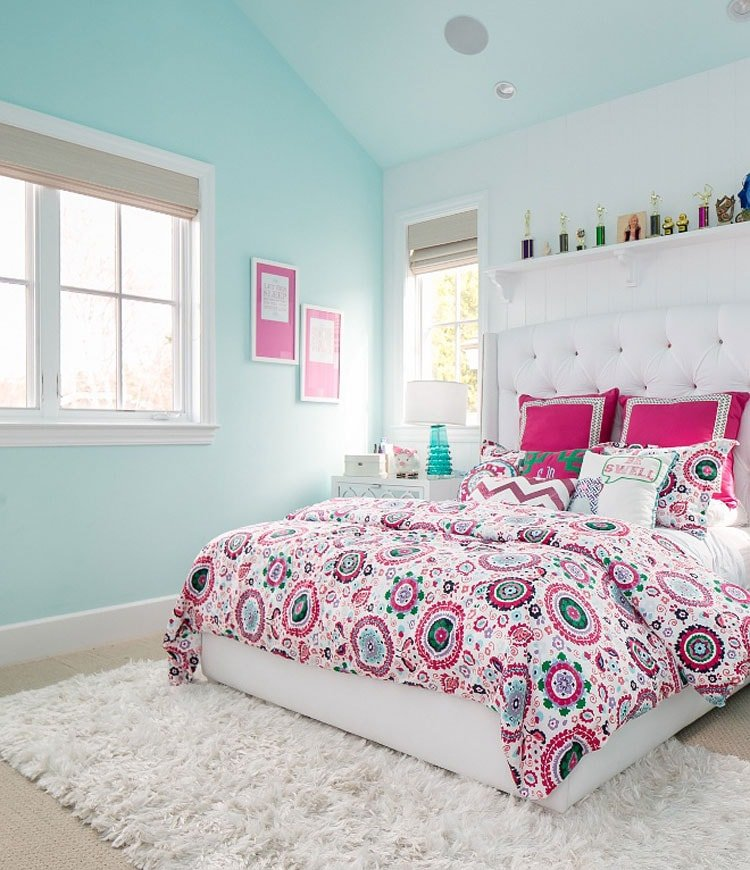 Pastel Bedroom with Cool Area Rug