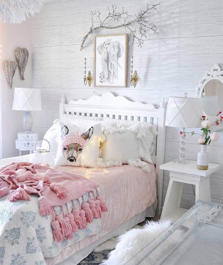Picturesque White Teen Girl Bedroom with Rustic Elements