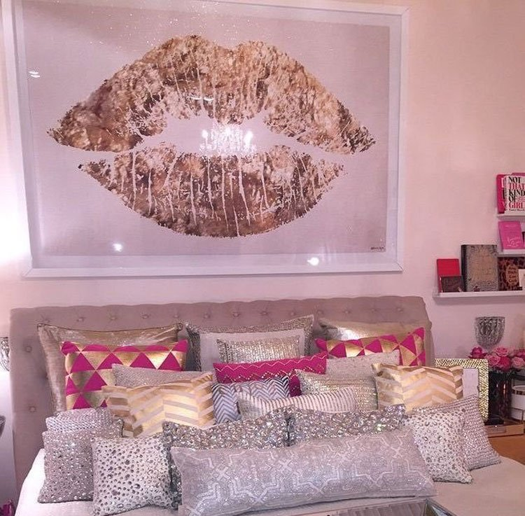 Pink Bedroom with Glossy Statement Art and a Cute Bed