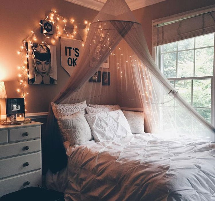 Posh Girl's Bedroom with Princess Canopy Bed