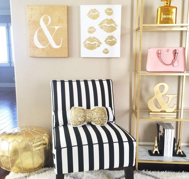 Posh Teen Room with Trendy Chair, Shelves, and Wall Decor