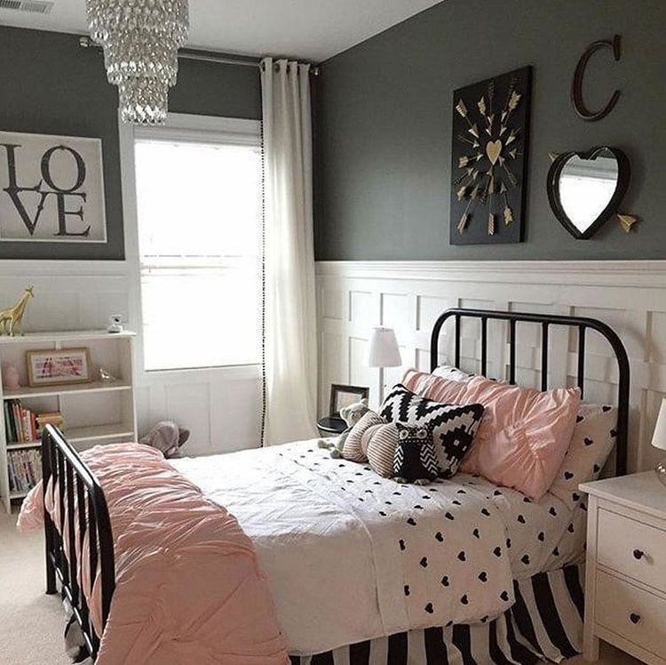 Pretty Girl Bedrooms in Classy Black, White and Pink Colors