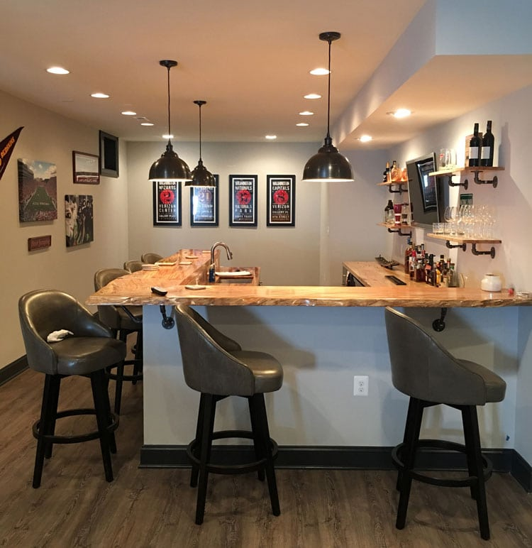 Rustic Fixtures, Lighting and Shelves with Smooth Top For Creative Home Bar
