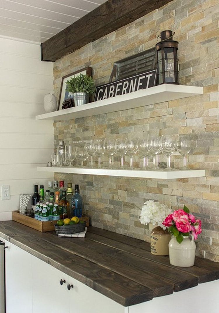 Simple Dry Wall Bar with Wood Top and Fun Decor