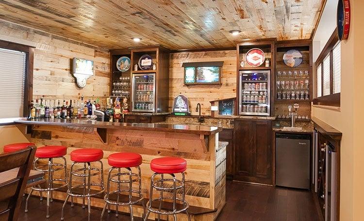 Simple Rustic Basement Bar Designs