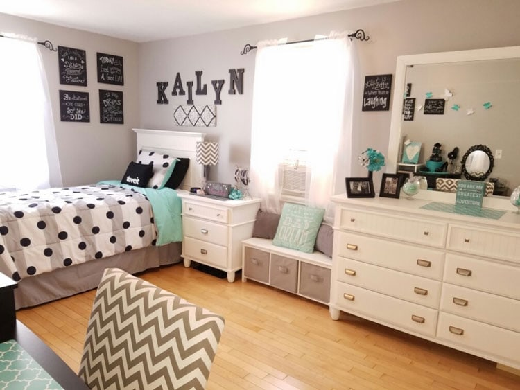 Simple Teen Bedroom Ideas with White Furniture and Name Art