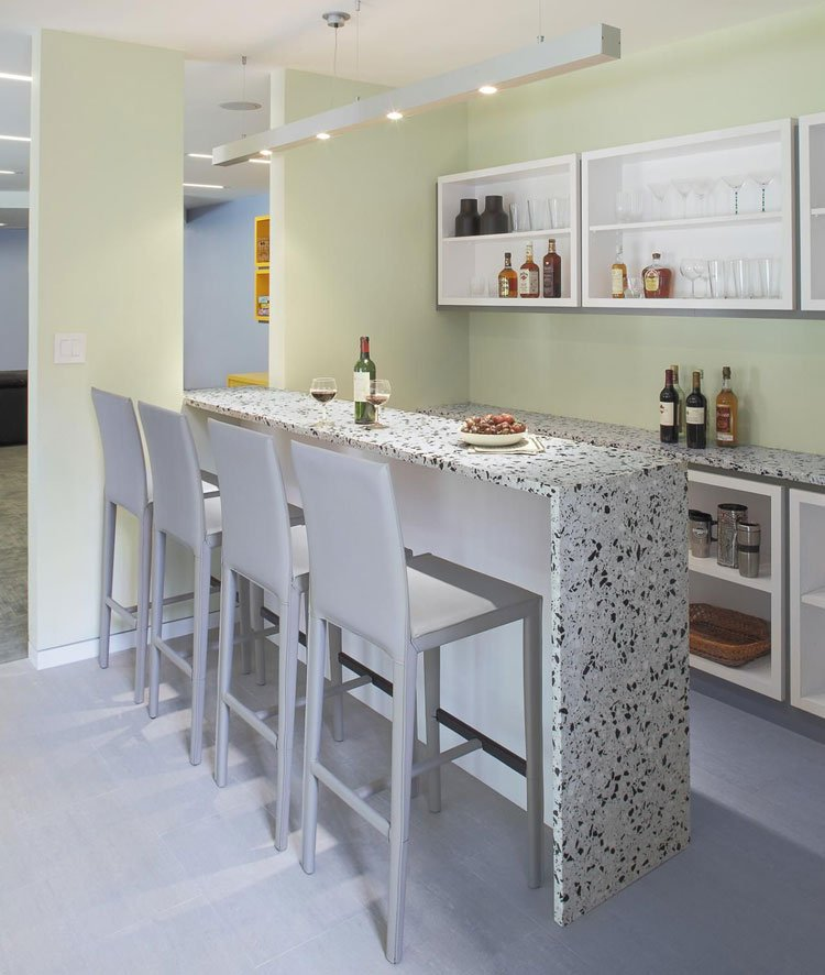Small White Color Bar Area with Marble Top and Minimalist Decor