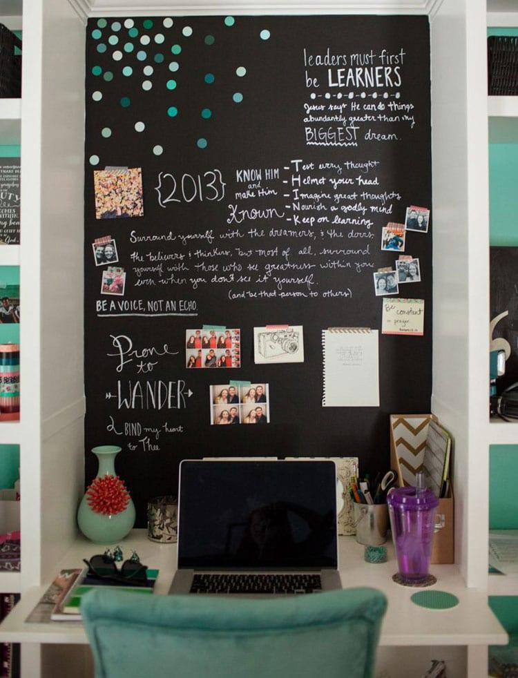 Teen Bedroom with Creative Study Corner with Chalkboard Wall