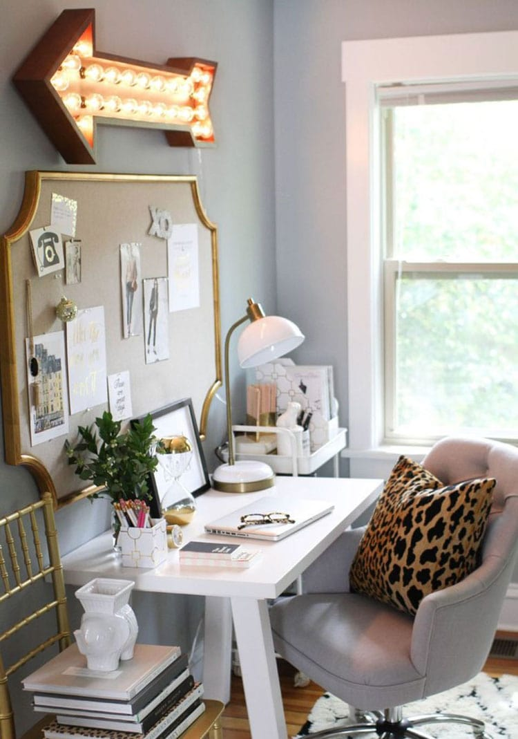 Teen Girl Room Décor with Neon Signs and Cool Study Desk