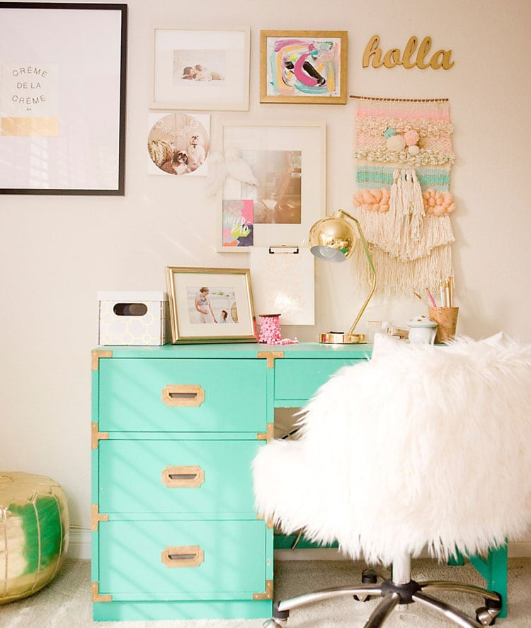 Teen Room Decor Ideas with Beautiful Desk, Fuzzy Chair, and Cute Wall Art