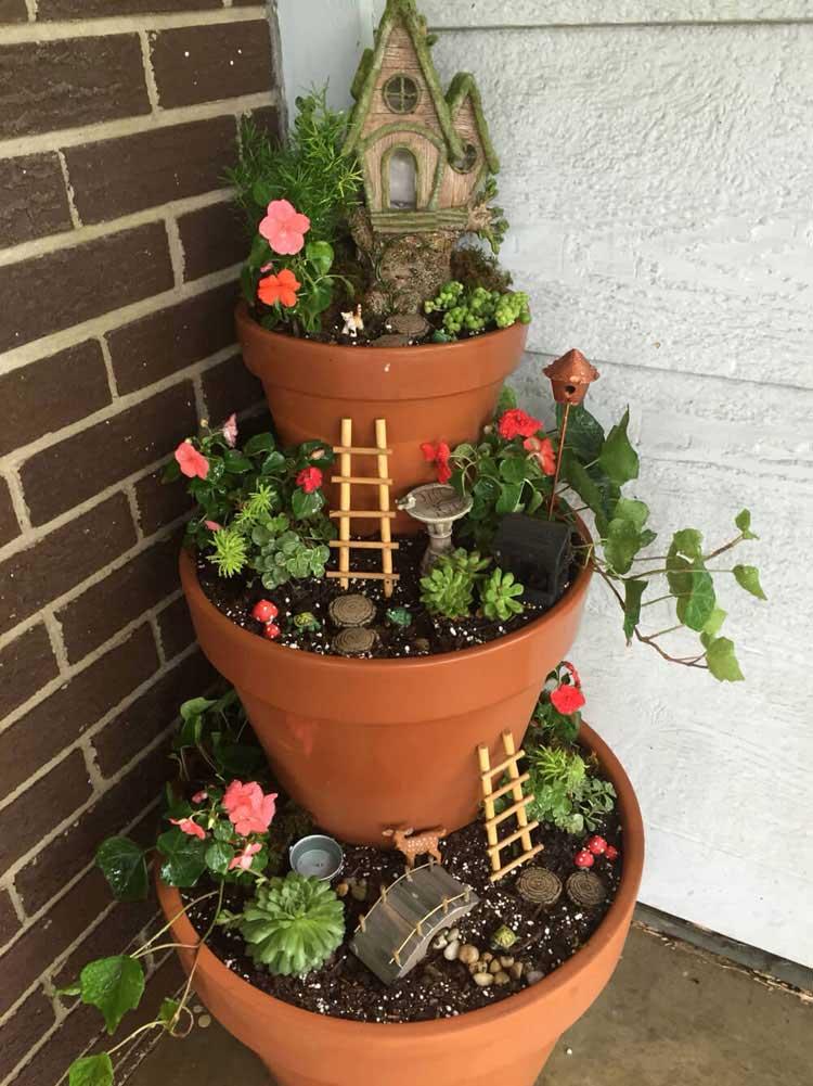 Tiered Flower Pot Decor For Front Door