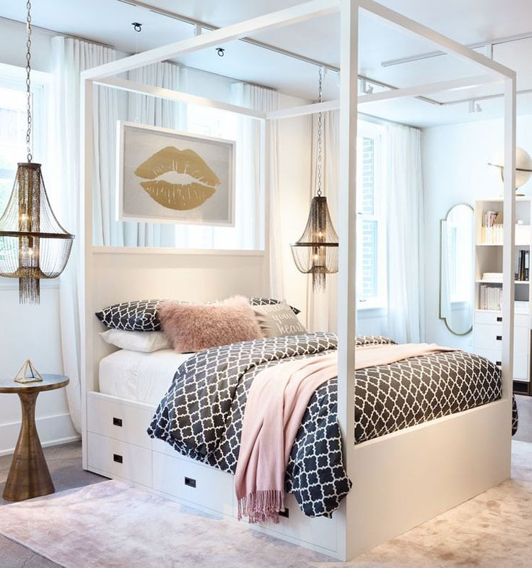 Trendy Bedroom with Statement Bed, Storage, and Soft Rug