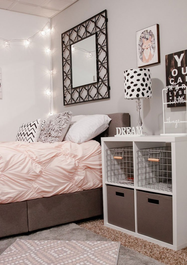 Tween Girl Bedroom with Bins and Baskets For Organization