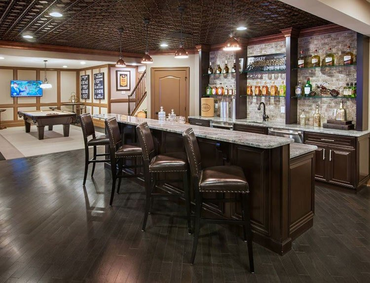 Upscale Basement Bar Designs with Pool Table