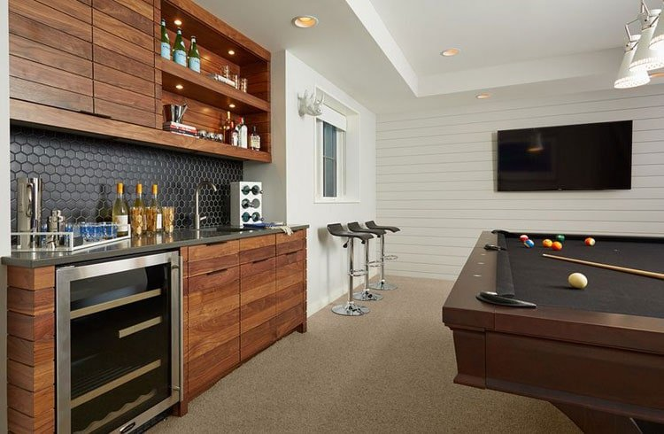 Wall Bar For A Basement Bar And Game Room