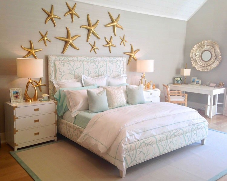 Whimsical Teenage Girl Room Décor with Gold Stars on the Wall and Plush Throw Pillows