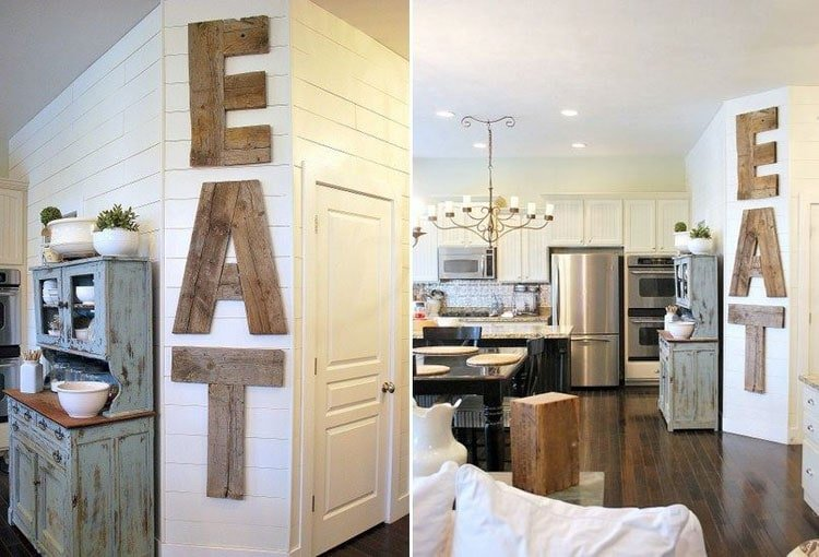 Wooden Kitchen Wall Decor with Large Statement EAT Sign