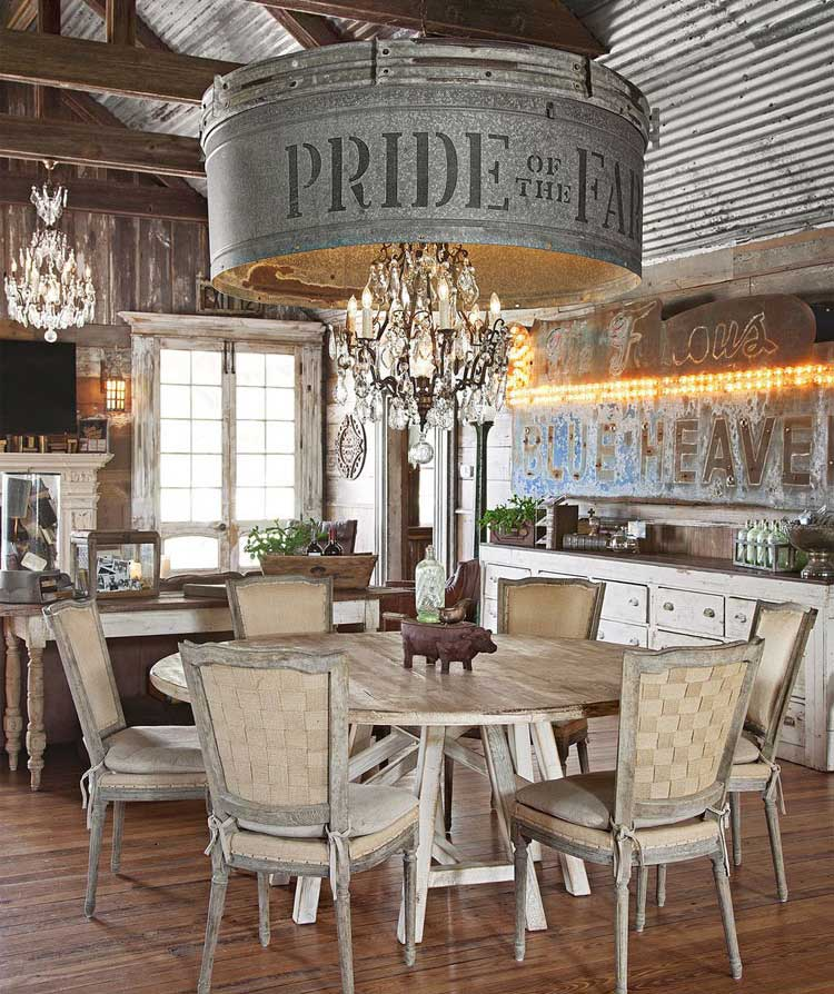 Country Farmhouse Style Interior Designs with Lavish Kitchen, Wall, Lighting Fixture, Table and Chairs