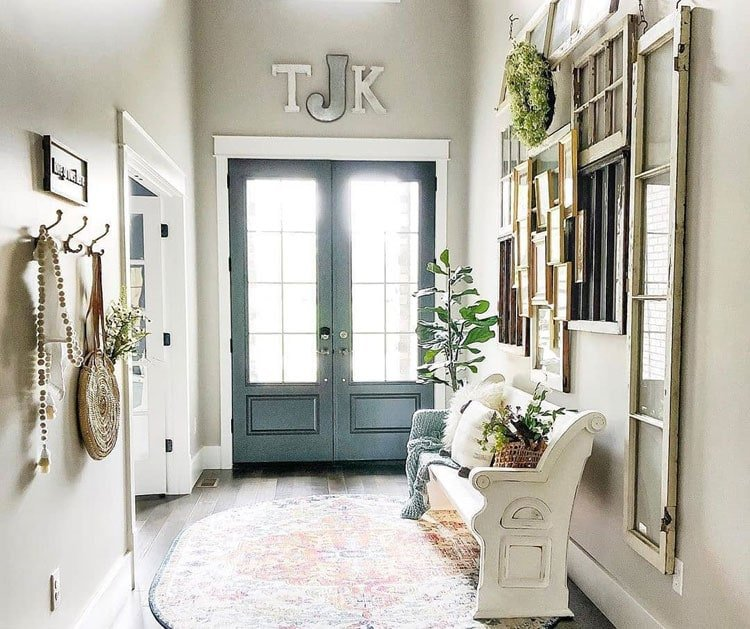 Farmhouse Foyer with Creative Repurposed Doors and Windows