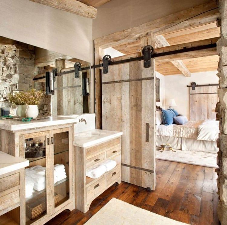 Luxury Country Farmhouse Bathroom with Sliding Doors