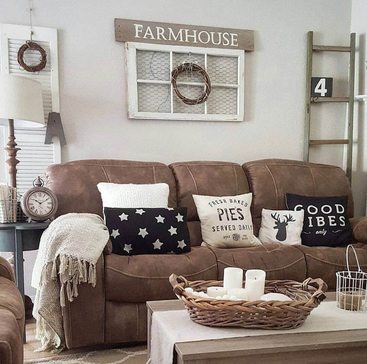 Old Farmhouse Style Living Room Decor for Couches, Pillows, Walls