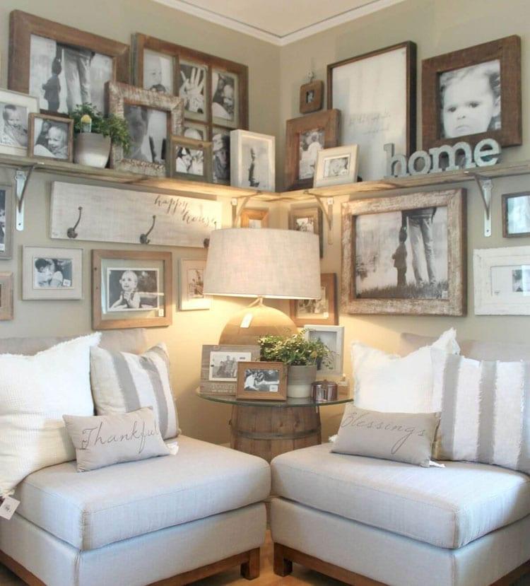 Pretty Farmhouse Living Room Wall Decorating Ideas