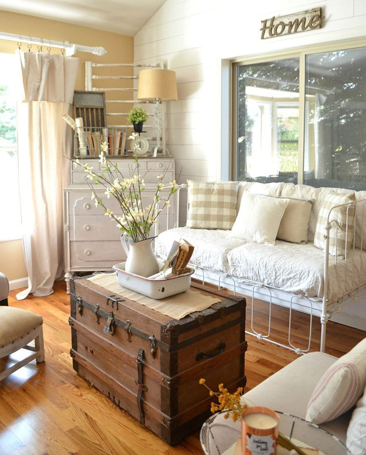 Vintage Farmhouse Decor Old Trunk and Vintage Crib Turned Into Couch