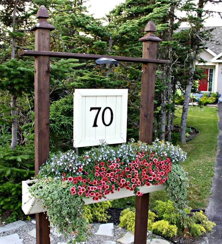 A Rustic Address Sign Post with An Elegant Twist
