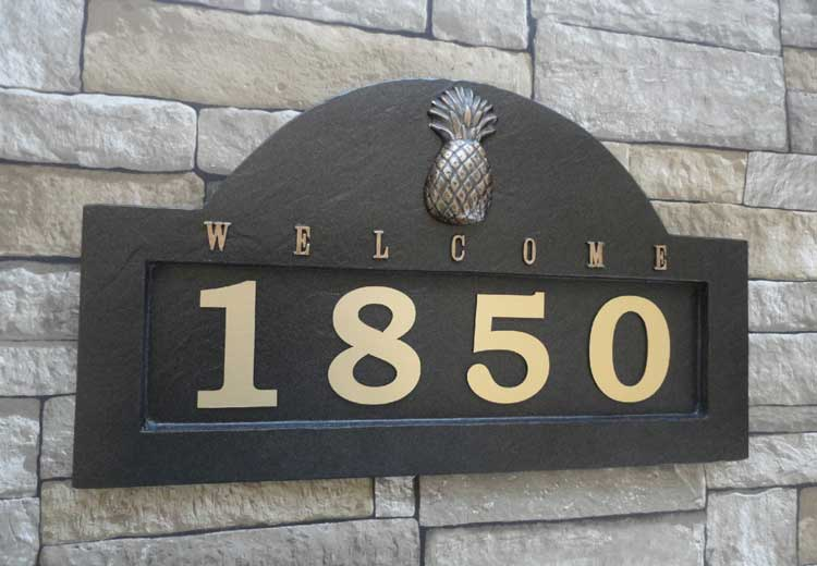 Black and Gold Address Plaque with Unique Design