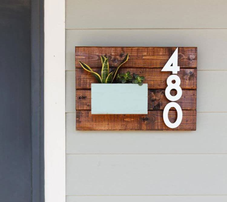 Creative House Numbers with Planter
