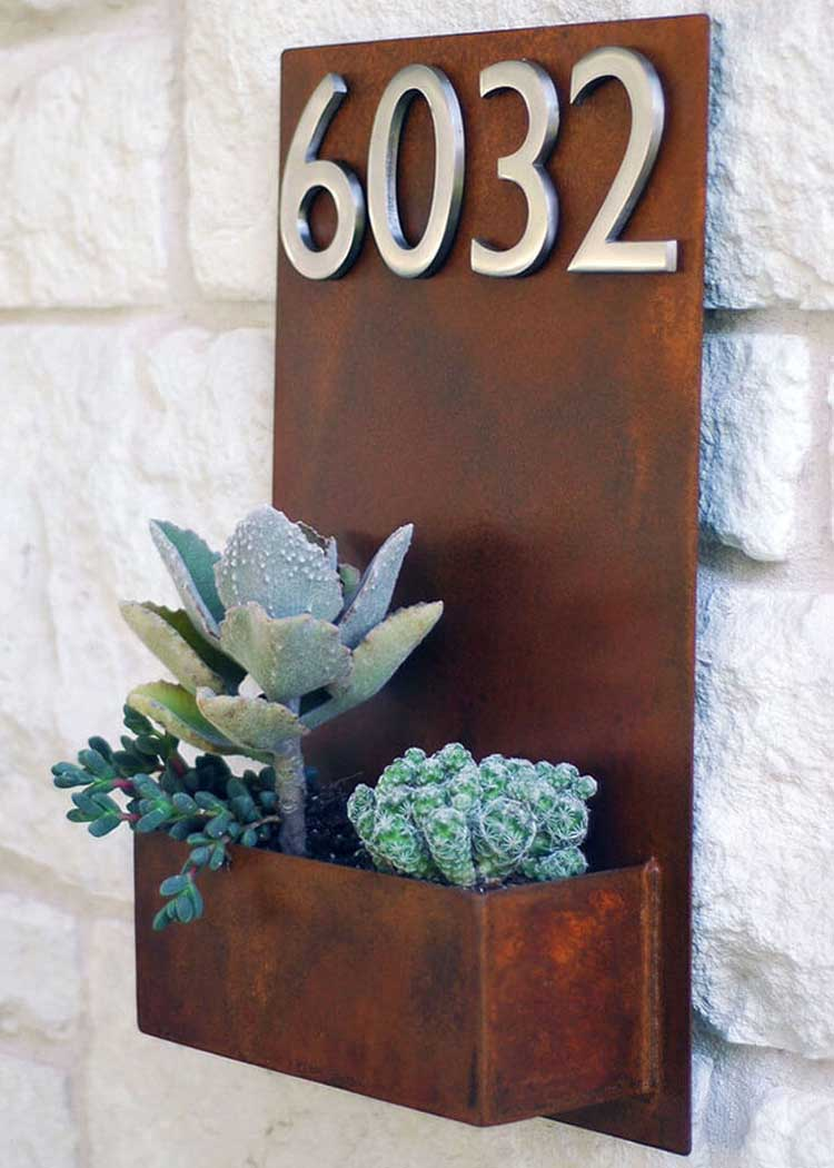 Make Your Home Shine with a Metal Plaque and Planter