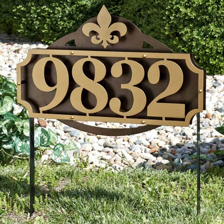Modern Metal House Number Plaque In The Front Yard