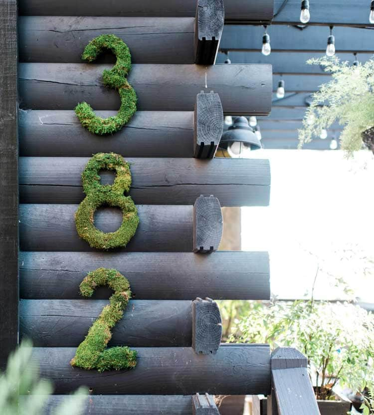 Mossy Numbers Add A Magical Element To A Wooden Cabin