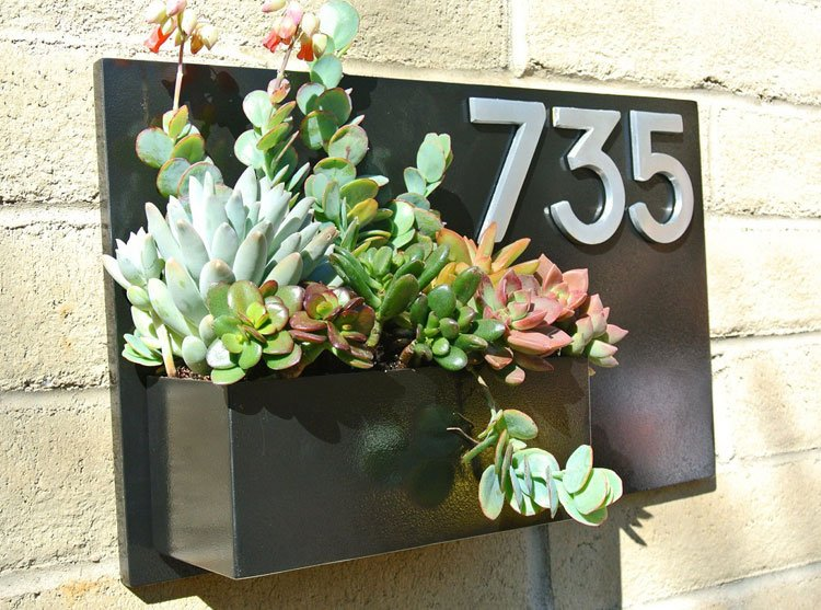 Simple and Modern Number Sign with Planter