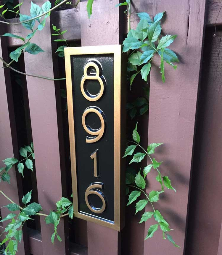 Vertical Carved Address Sign