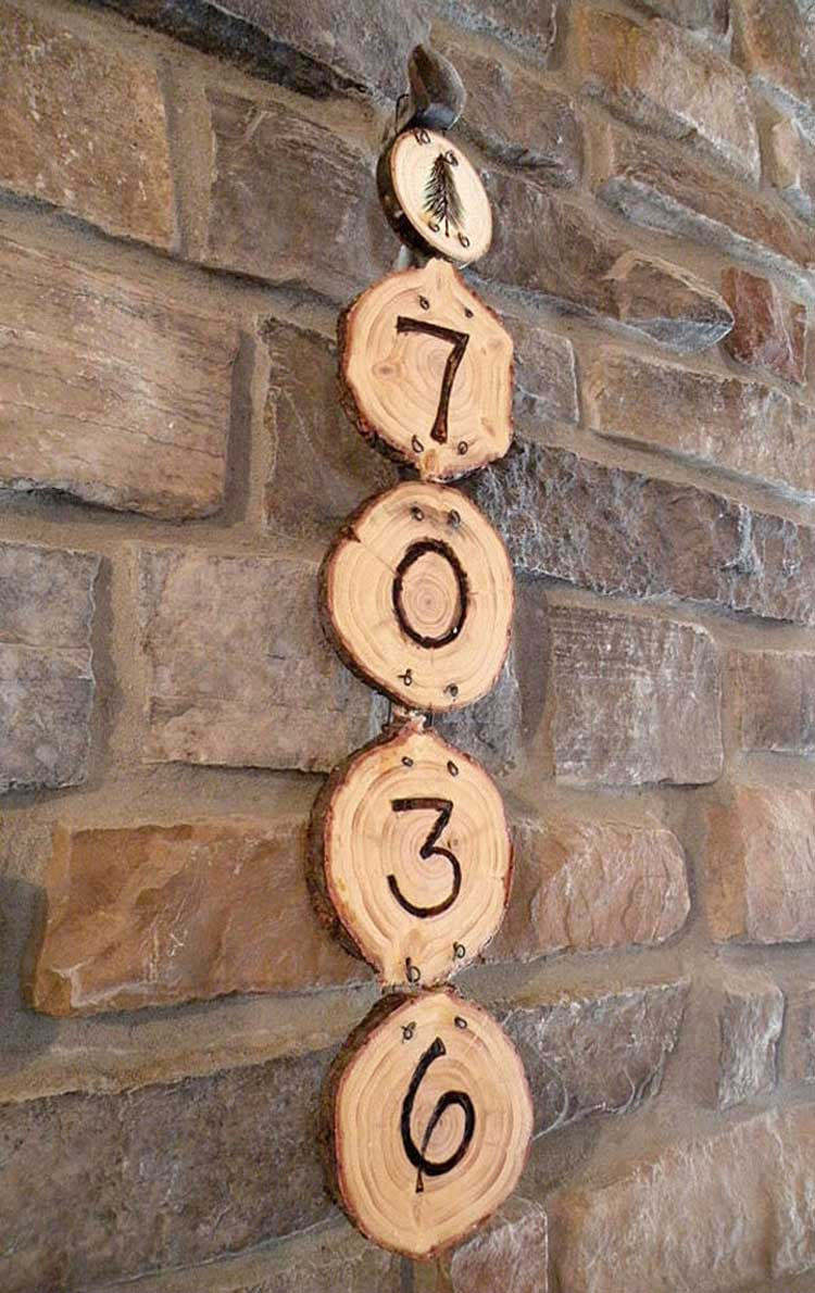 Wooden House Address Sign Burned Into Log Cross Sections