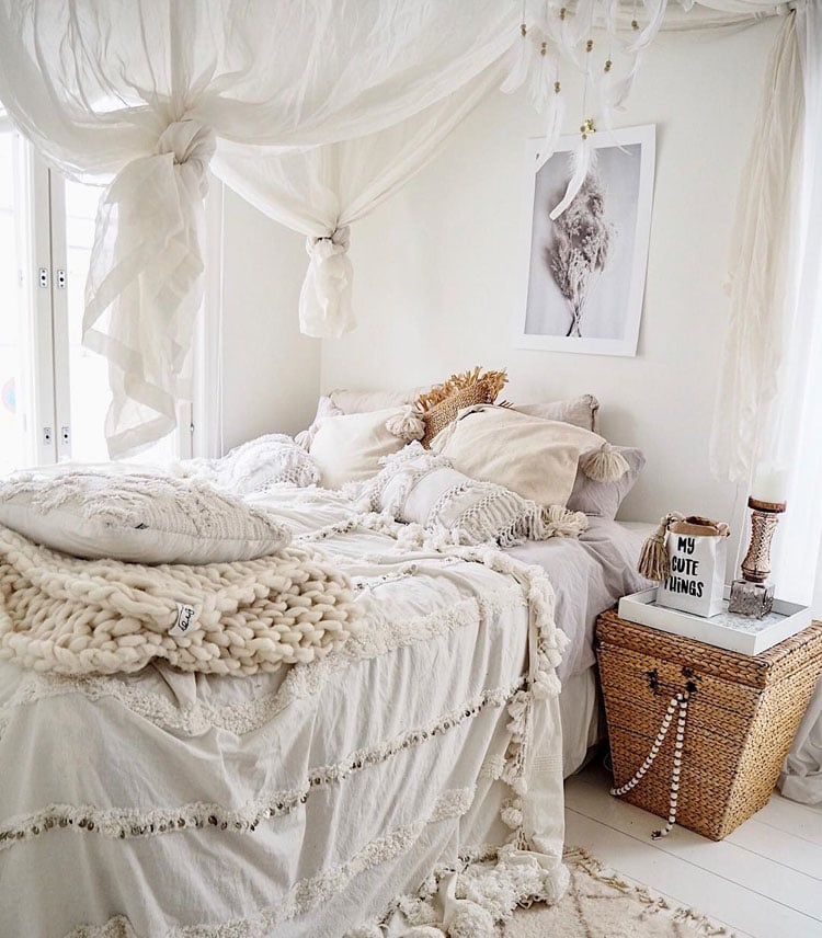 All White Boho Bedroom Decor