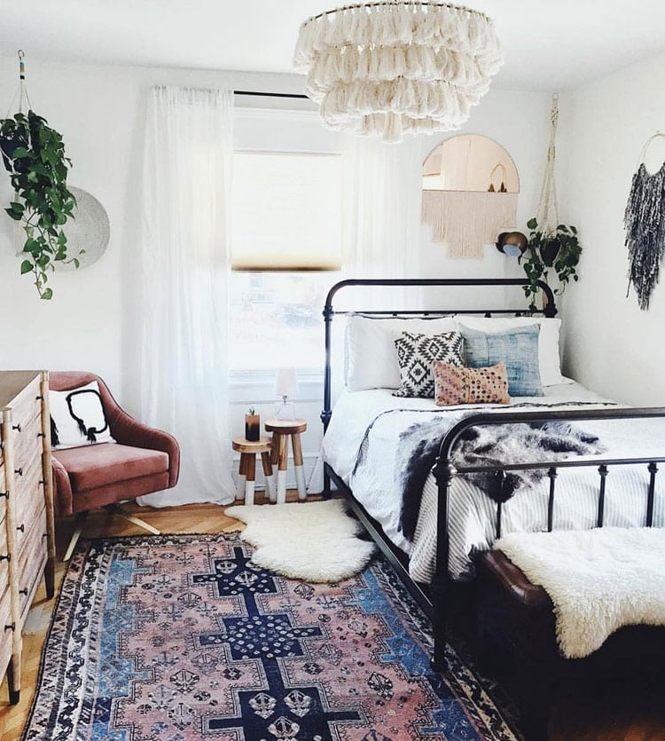 Blue and White Bohemian Bedroom Design