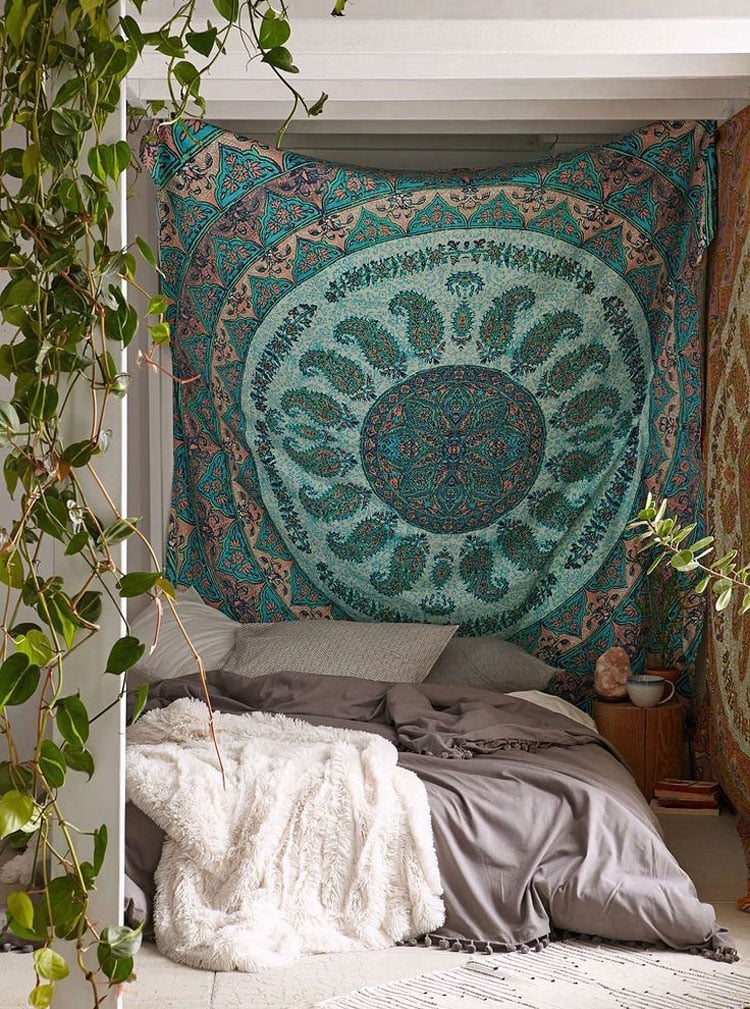 Bohemian Bedroom with Tapestry Headboard