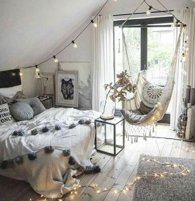 Cute Bohemian Bedroom Lights and Swing
