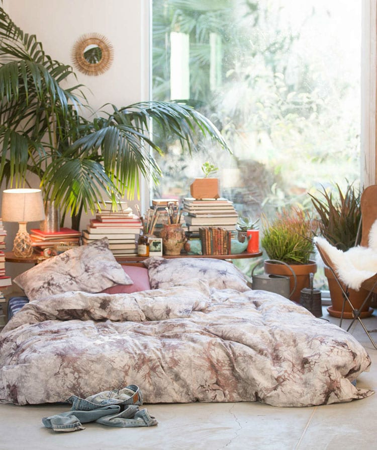 Eclectic Bohemian Bedroom with Bedding and Plants